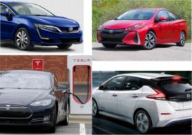 Honda Clarity, Toyota Prius Prime, Tesla Model S, Nissan Leaf